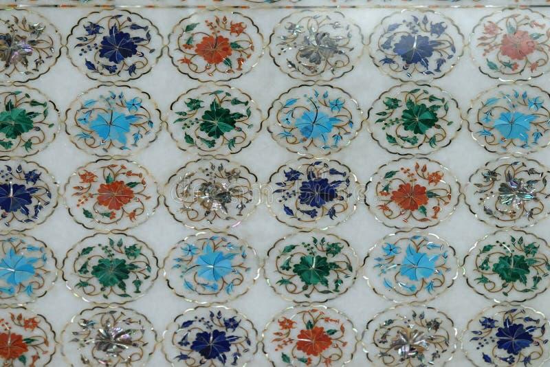 Tradycyjni kolorowi kwieciści marmurowi tabletops dla sprzedaży, Agra zdjęcia stock
