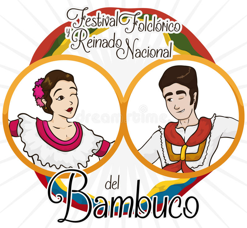 Tradycyjni Kolumbijscy Bambuco tancerze, flaga dla Ludoznawczego festiwalu wydarzenia i, Wektorowa ilustracja ilustracja wektor