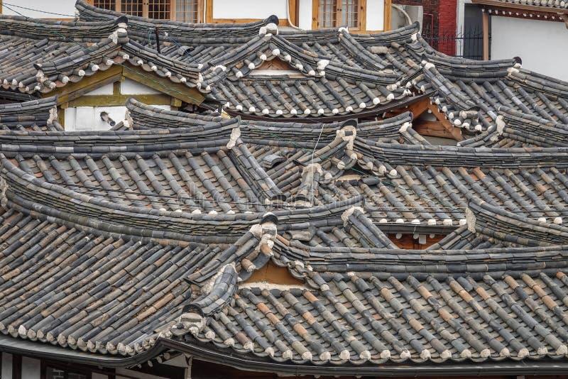 Tradycyjni koreańczyków dachy architektura antyczny azjata fotografia royalty free
