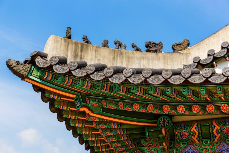 Tradycyjni koreańscy architektura dachu okapy obrazy stock