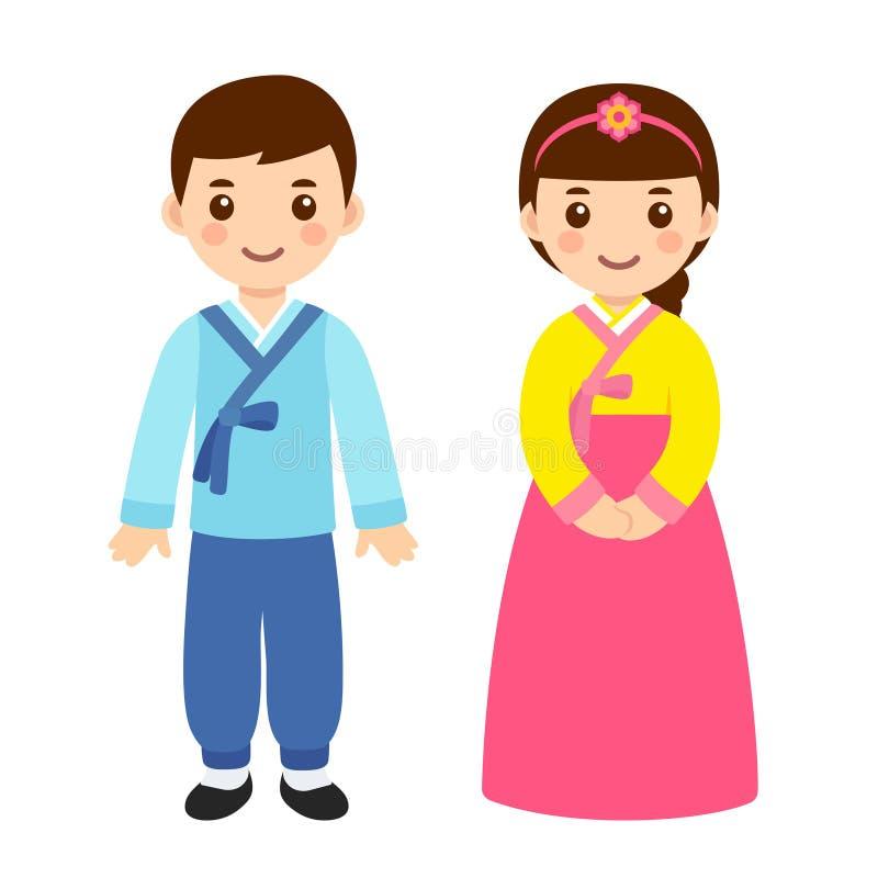 Tradycyjni Koreańscy kostiumy ilustracja wektor