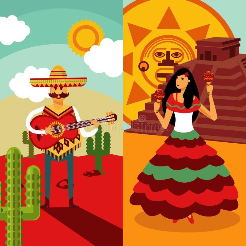 Tradycyjni Meksyk Vertical sztandary ilustracji