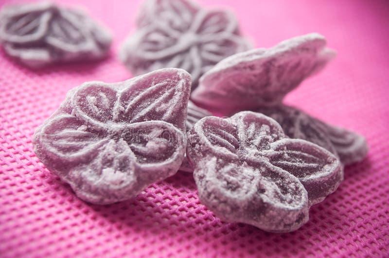 Tradycyjni purpurowi cukierki w kształtnym kwiacie na różowym b obraz royalty free