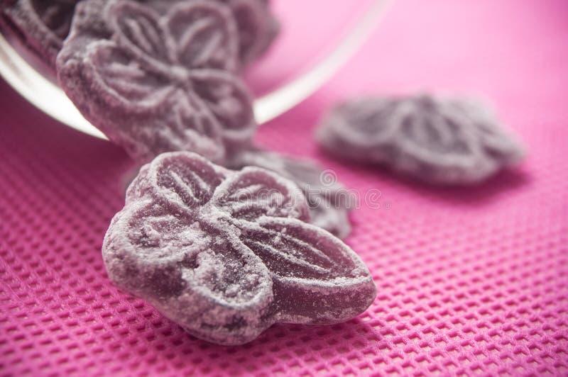Tradycyjni purpurowi cukierki w kształtnym kwiacie spada f zdjęcie stock