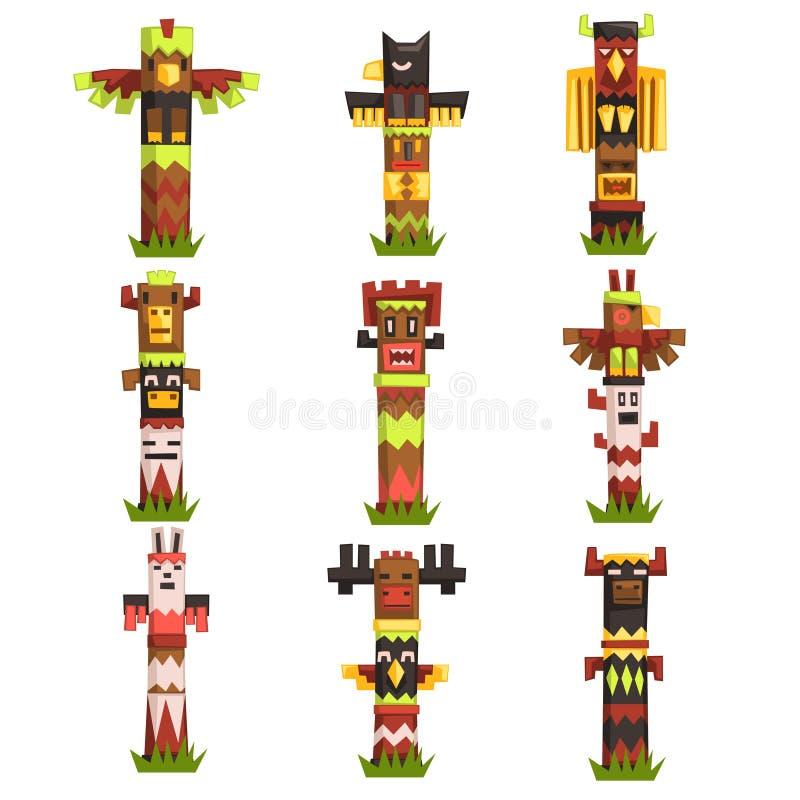 Tradycyjni religijni totemów słupy ustawiający, rodzimej kultury plemienny symbol, rzeźbiący idol maskują wektorowe ilustracje royalty ilustracja