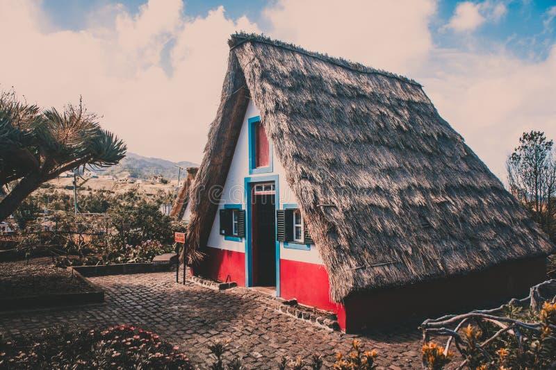 Tradycyjni słoma dachu madery domy obraz royalty free