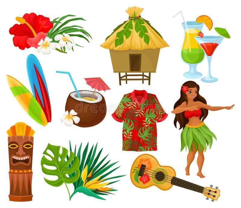 Tradycyjni symbole Hawajski kultura set, poślubnika kwiat, bungalow, surfboard, tik plemienna maska, ukulele, egzot ilustracja wektor