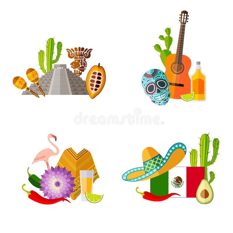 Tradycyjni symbole Meksyk w mieszkanie stylu Wektorowi składy ilustracja wektor