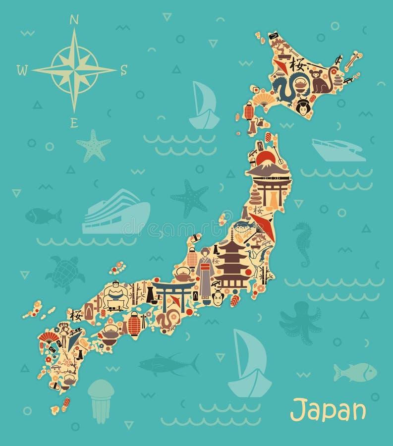 Tradycyjni symbole w postaci map Japonia ilustracja wektor