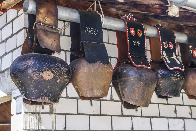 Tradycyjni Szwajcarscy cowbells obraz stock