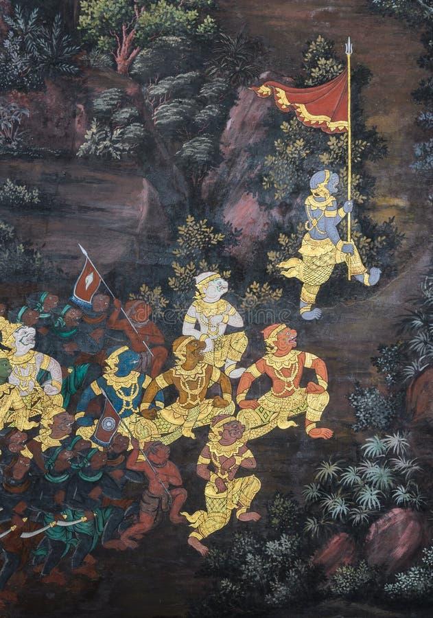 Tradycyjni Tajlandzcy obrazy Ramayana epopeja zdjęcie royalty free