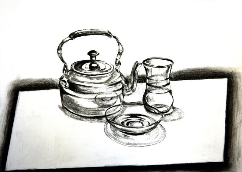 Tradycyjny Arabski herbata set, węgla drzewnego rysunek obrazy stock
