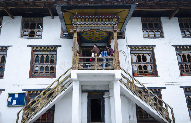 Tradycyjny architektoniczny projekt Bhutan fotografia stock