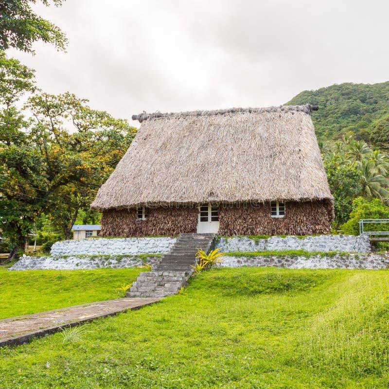 Tradycyjny autentyczny fijian Bure, słoma pokrywać strzechą ściany, dachowa buda Levuka miasteczko, Ovalau wyspa, Fiji, Melanesia zdjęcia royalty free