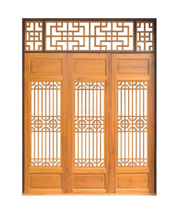 Tradycyjny Azjatycki okno i drzwi wzór, drewno, chiński styl w zdjęcia stock