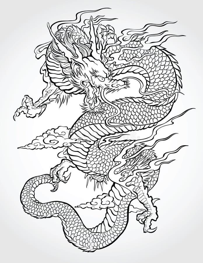 Tradycyjny Azjatycki smok ilustracja wektor