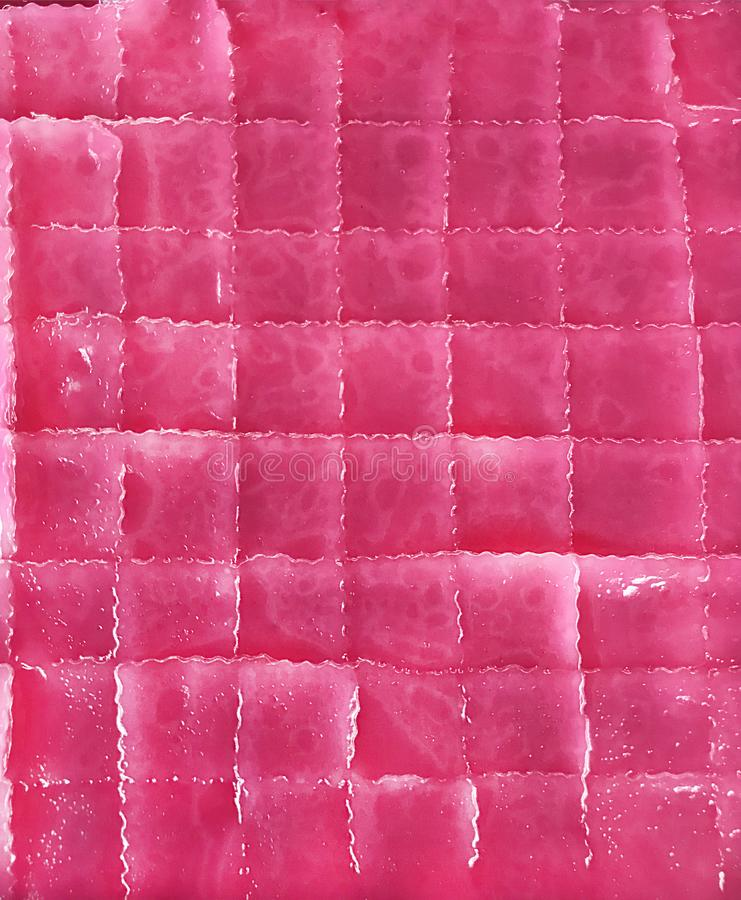 Tradycyjny Azjatycki Tajlandzki Kulinarny deser: odgórnego widoku tło kolorowy różowy odparowany warstwa cukierki tort Khan Chan  obraz stock