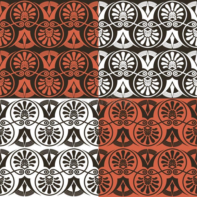 Tradycyjny bezszwowy ciemny fan kształtujący roczników ozdobni elementy z Greckimi wzorami obrazy royalty free