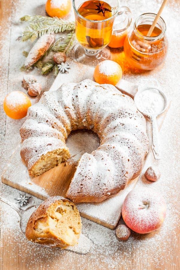 Tradycyjny Bożenarodzeniowy owoc torta pudding na Bożenarodzeniowej dekoraci fotografia royalty free