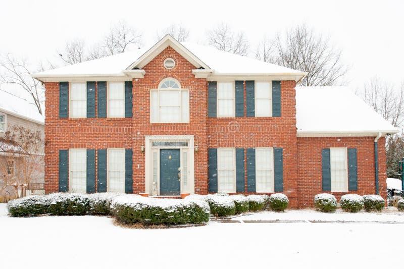 Tradycyjny cegła dom w zimie zdjęcia stock