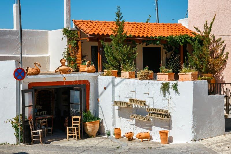 Tradycyjny creten wioskę Margarites, Crete, Grecja zdjęcia royalty free