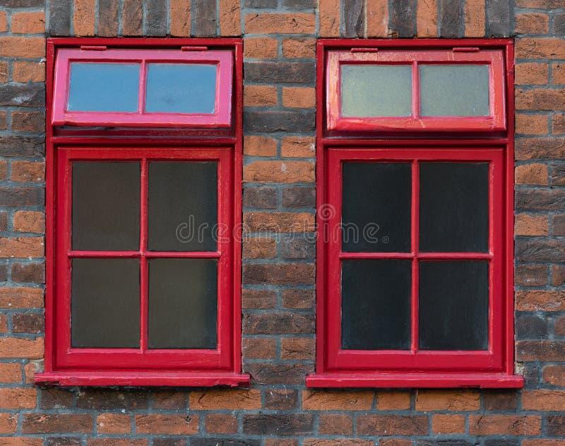 Tradycyjny Czerwony Angielski Windows obraz stock