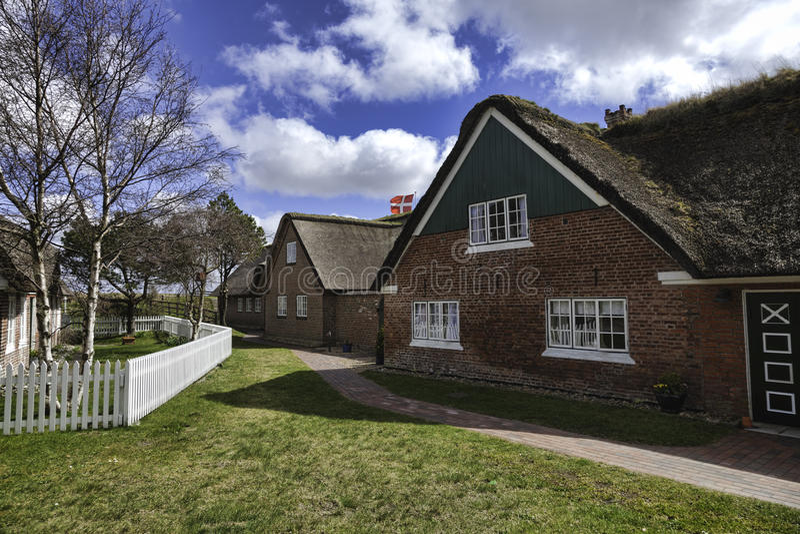 Tradycyjny dom w Sonderho na duńskiej wyspie Fano fotografia stock