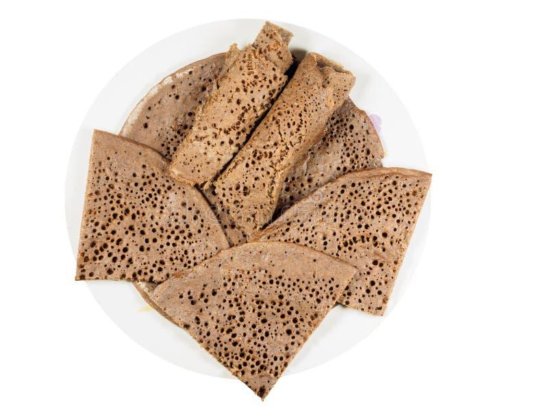 Tradycyjny Etiopski flatbread od fermentującej teff mąki na w zdjęcia stock