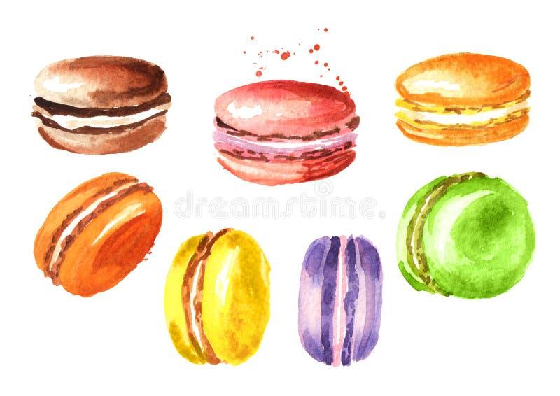 Tradycyjny francuza torta macaron lub macaroon, kolorowi migdałowi ciastka ustawiający Akwareli ręka rysująca ilustracja ilustracja wektor