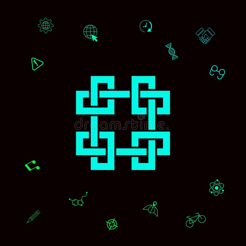 Tradycyjny geometryczny orientalny języka arabskiego wzór Element dla twój projekta - logo Graficzni elementy dla twój designt ilustracji