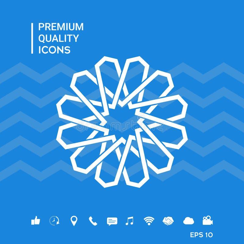 Tradycyjny geometryczny orientalny języka arabskiego wzór twój projekta element logo royalty ilustracja