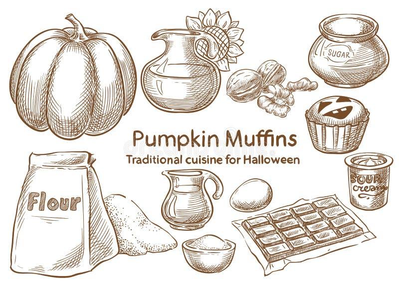Tradycyjny Halloweenowy jedzenie Dyniowi muffins ilustracja wektor