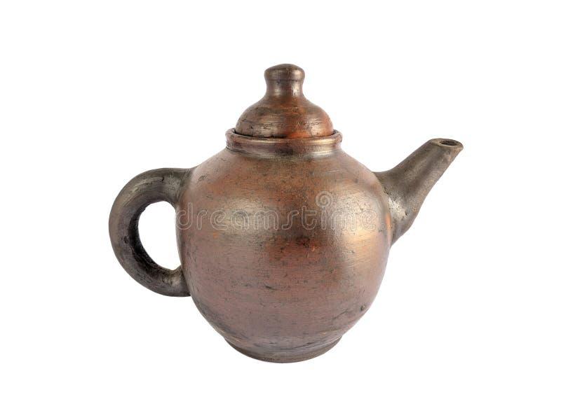 Tradycyjny herbata set robić od gliny, ceramiczny czajnik odizolowywający na białym tle fotografia royalty free