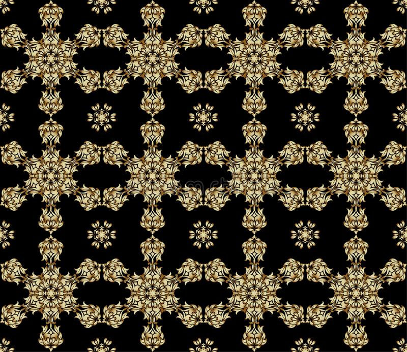 Tradycyjny hindusa styl, ornamentacyjni kwieciści elementy Wektorowa ilustracja złotego mehndi bezszwowy wzór ilustracja wektor