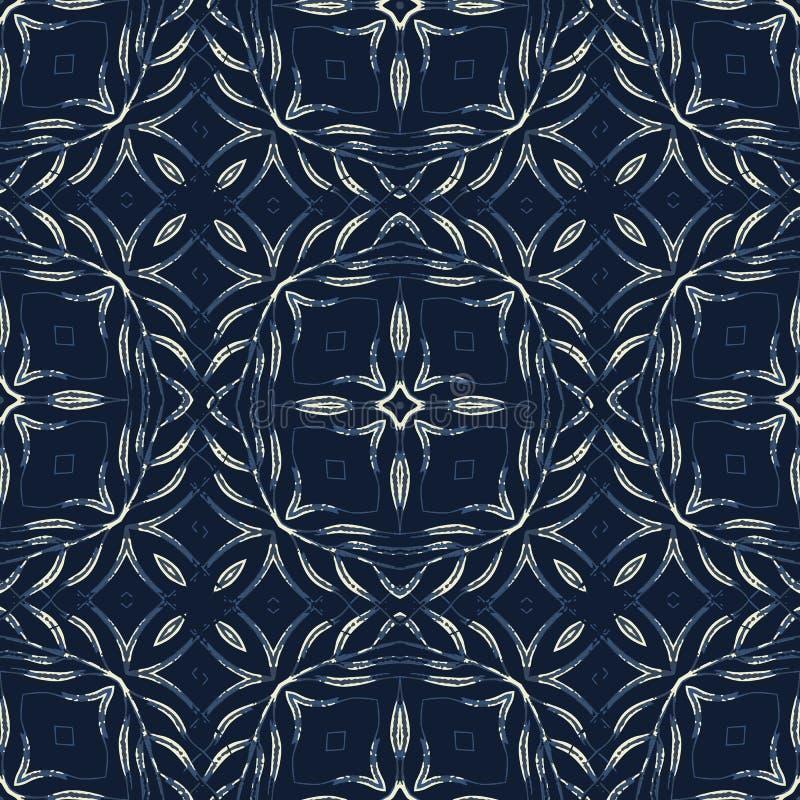 Tradycyjny Indygowego błękita wektoru Bezszwowy wzór Ręka Rysujący Portugalia ilustracji