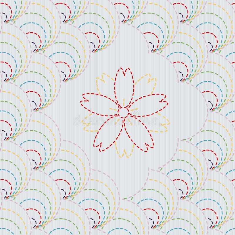 Tradycyjny Japoński Hafciarski ornament z Sakura kwiatem Sashiko wzór ilustracja wektor