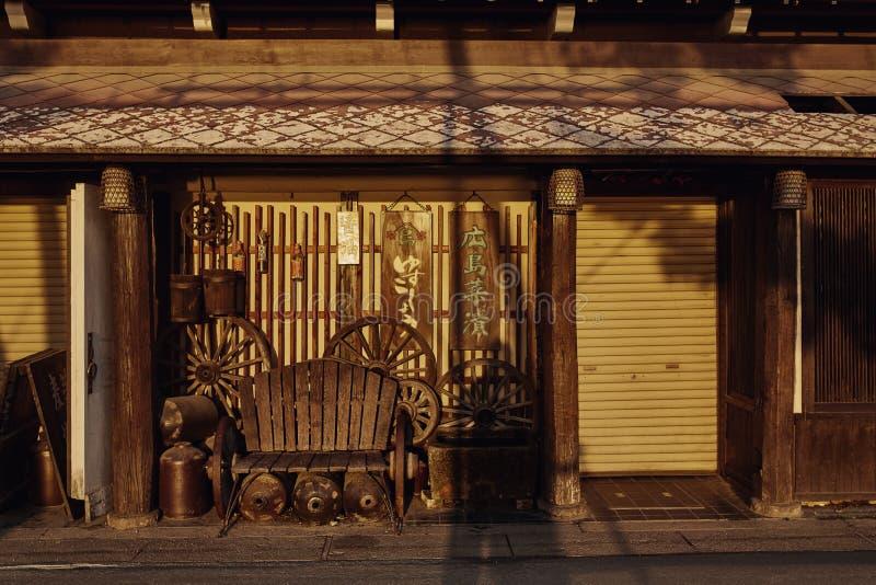 Tradycyjny Japoński projekt w Miyajima, Japonia obraz royalty free
