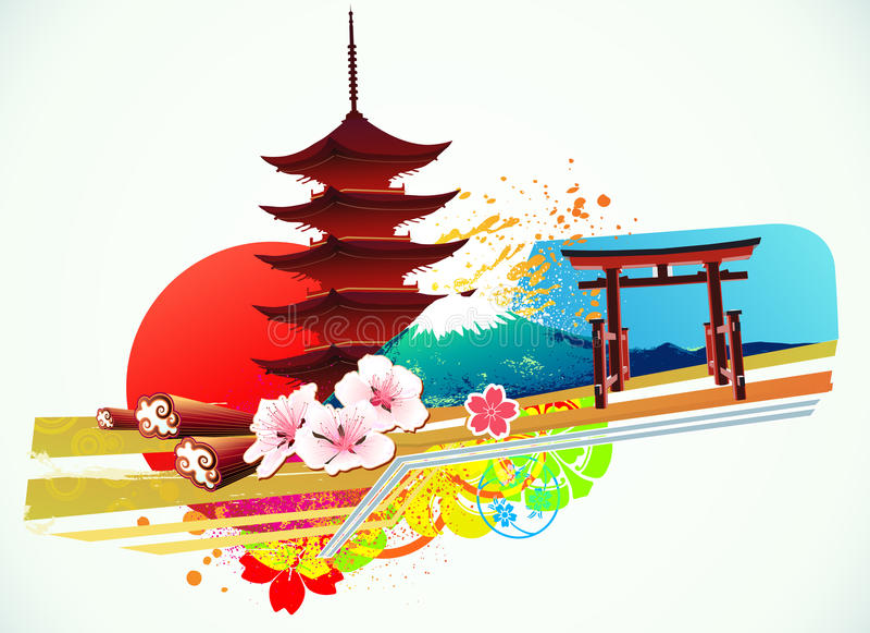 Tradycyjny Japoński tło ilustracja wektor