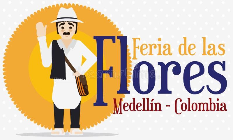Tradycyjny Kolumbijski Arriero charakteru odświętności kwiatów festiwal, Wektorowa ilustracja ilustracja wektor