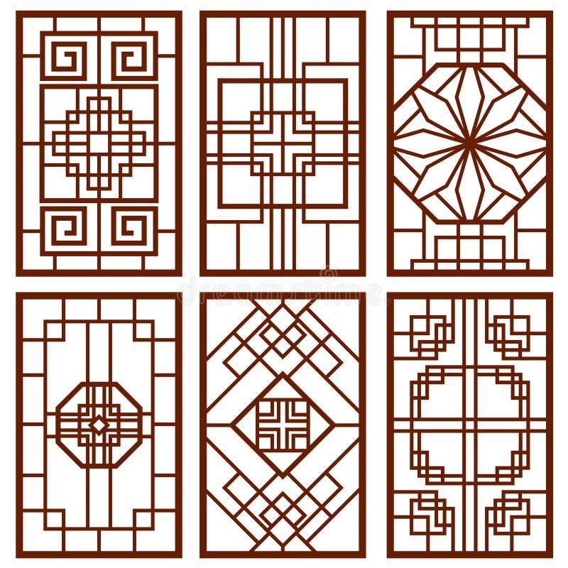 Tradycyjny koreański drzwi i nadokienny ornament, chińskiej ściany projekt, Japan obramiamy wektoru set royalty ilustracja