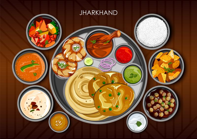 Tradycyjny kuchni i jedzenia posiłku thali Jharkhand India ilustracji