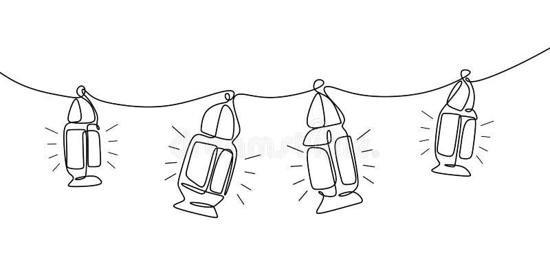Tradycyjny latarniowy ciągły kreskowego rysunku obwieszenie na białym tle royalty ilustracja