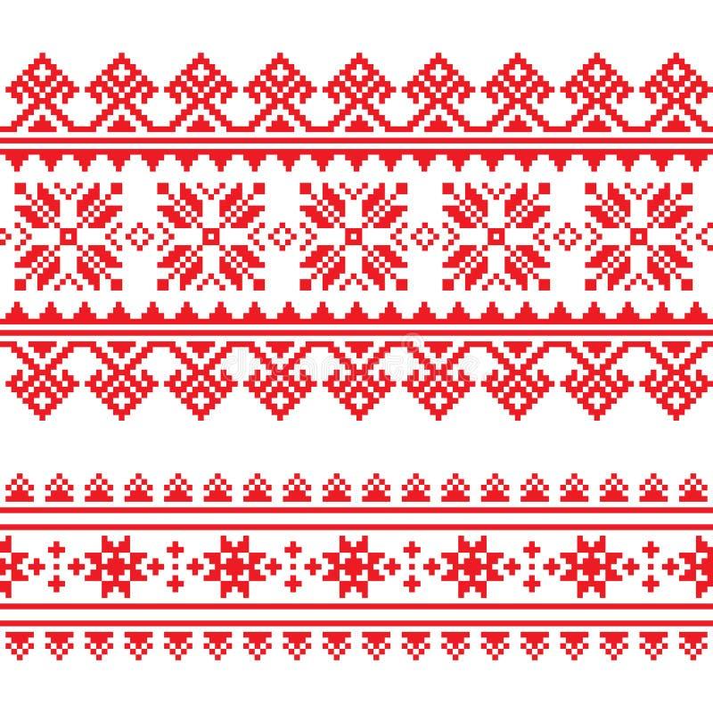 Tradycyjny ludowy trykotowy czerwony broderia wzór od Ukraina royalty ilustracja