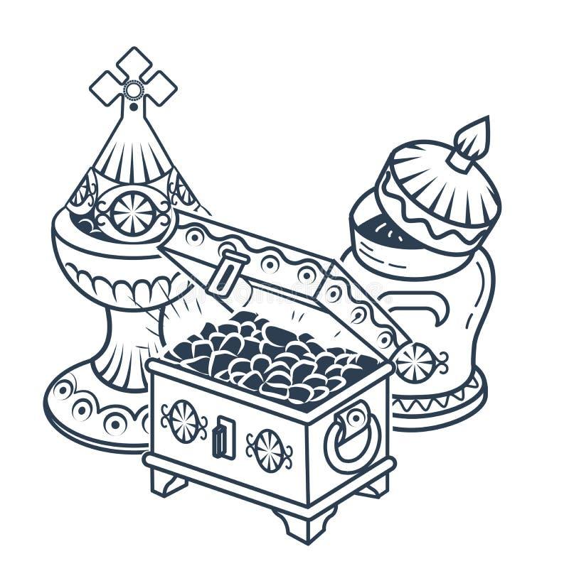 Tradycyjny mag ofiar ikony bielu tło royalty ilustracja