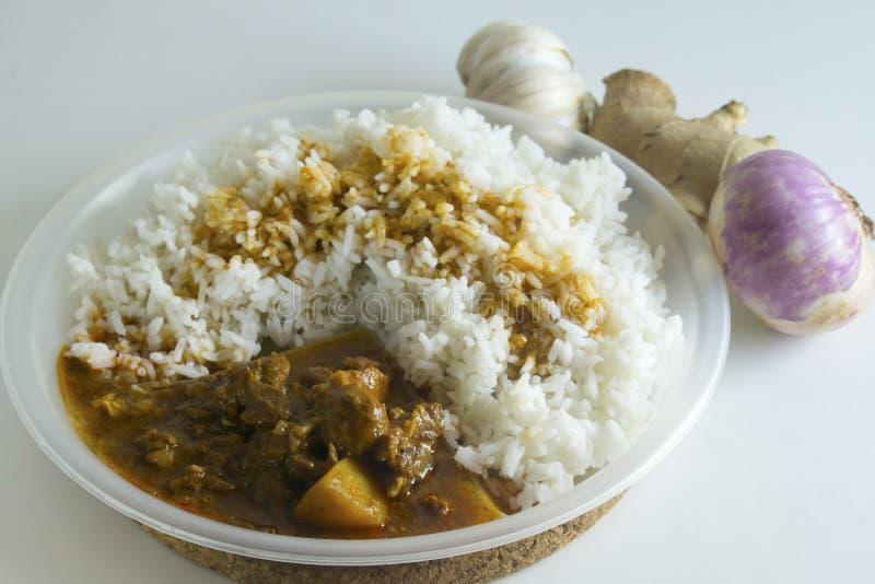 Tradycyjny Malezyjski kuchni wołowiny curry i Odparowany Rice zdjęcia stock