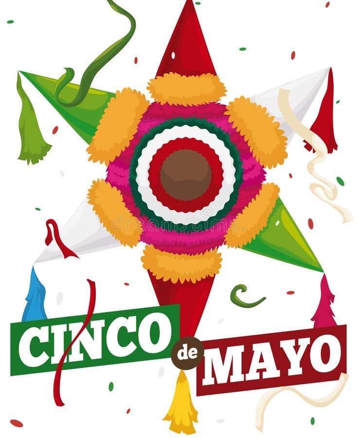 Tradycyjny Meksykański Pinata z confetti, Wektorową ilustracją, Przygotowywającymi dla Cinco de Mayo, ilustracja wektor