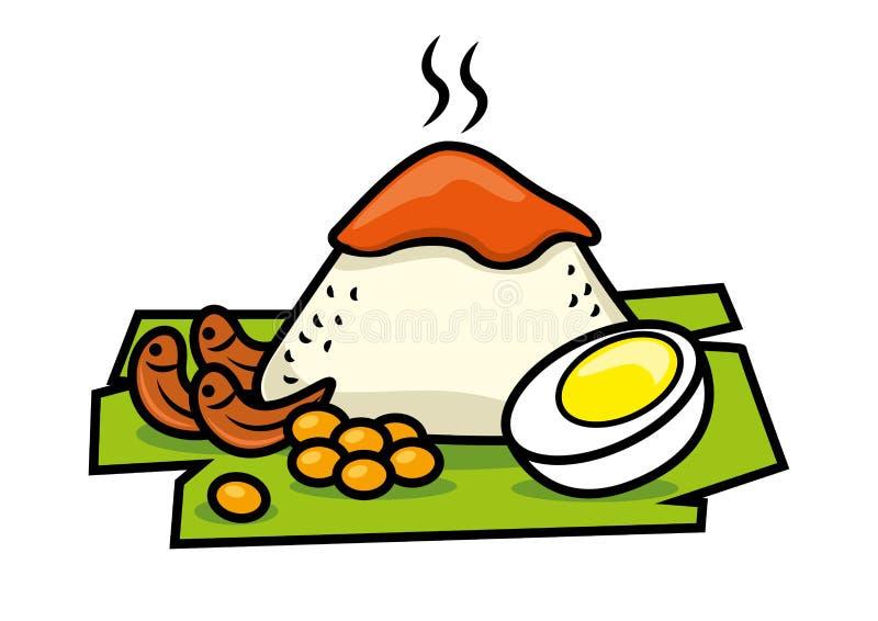 Tradycyjny Nasi Lemak malay jedzenie w Malezja - wektor odizolowywaj?cy ilustracja wektor
