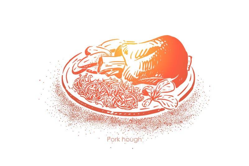 Tradycyjny niemiecki naczynie, europejska kuchnia, smażący knykieć, mięso z grulami i sauerkraut, restauracyjny menu ilustracji