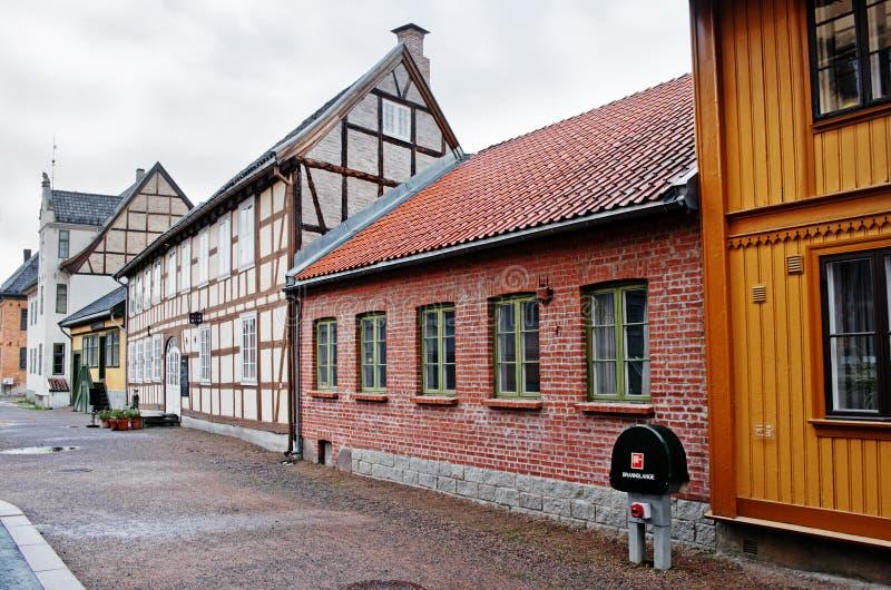 Tradycyjny norwegu dom z trawa dachem Norweski muzeum obraz royalty free