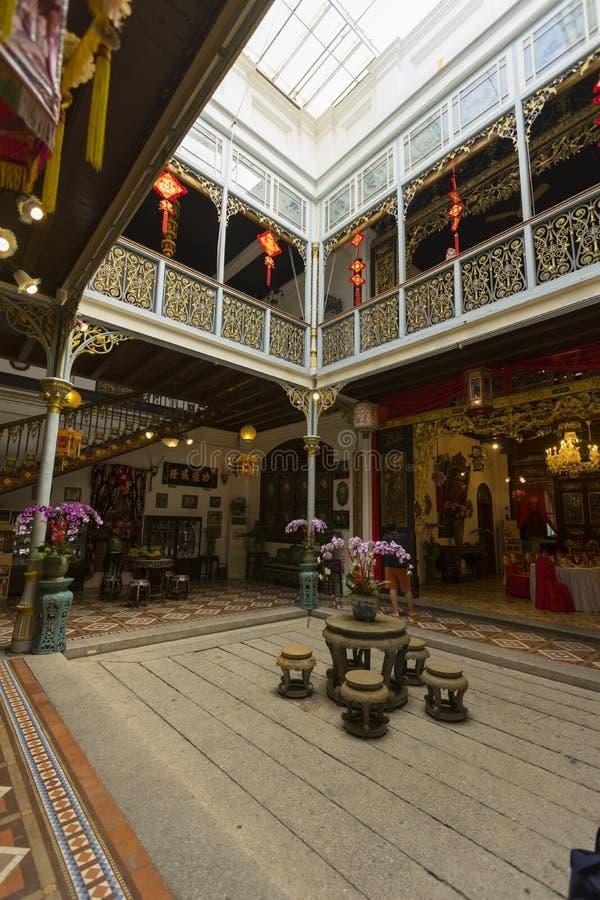 Tradycyjny Nyonya wewnętrzny podwórze przy Pinang Peranakan dworem w Penang, Malezja zdjęcie royalty free
